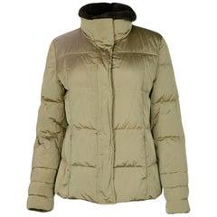 Max Mara Tan Puffer Jacket w/ Fur Collar sz 38