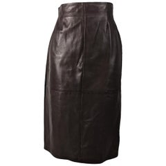 Max Mara Vintage Brown Leather Skirt