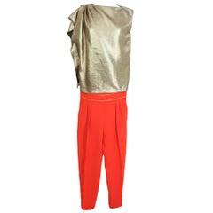 Max Mara Vintage Red Gold Viscose Suit Pants