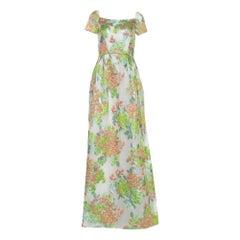Max Mara White Floral Lurex Jacquard Danzica Maxi Dress S