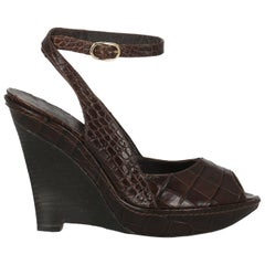 Max Mara Woman Wedges Brown Leather IT 38