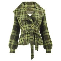 Max Mara Women's Alpaca, Wool & Angora Green Check Belted Shawl Collar Coat