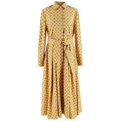 Max Mara Yellow Printed Belted Cotton Midi Shirt Dress US10