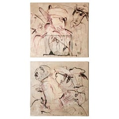 "Max Marra Couple Paintings ""Giudici II"" Mixed Technique on Canvas, Italy, 2004"