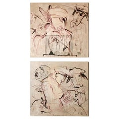 "Max Marra Couple Paintings ""Giudici II"" Mixed Technique on Canvas, Italy"