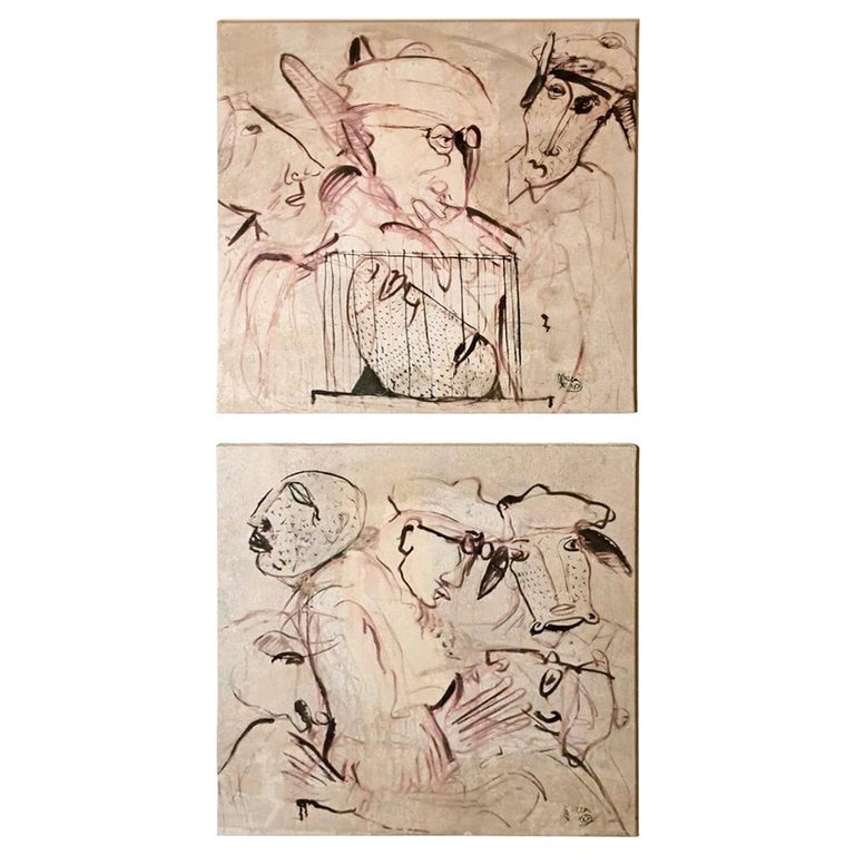 """Max Marra Couple Paintings """"Giudici II"""" Mixed Technique on Canvas, Italy, 2004 For Sale"""