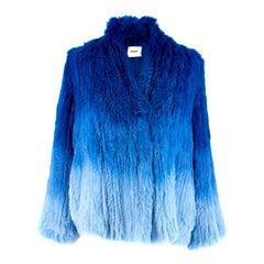Max & Moi Blue Ombre Rabbit Fur Jacket 36 (FR)