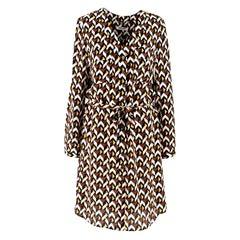 Max & Moi Geometric Print Silk Dress - Size US 0-2