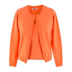 Max & Moi Orange Cashmere & Wool-blend Top & Cardigan 34