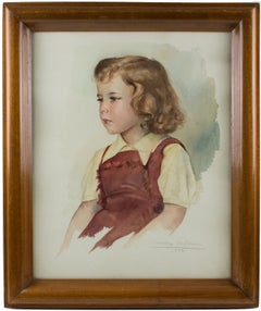 Portrait of Young Girl Gouache on Fine Art Paper Painting by Max Moreau