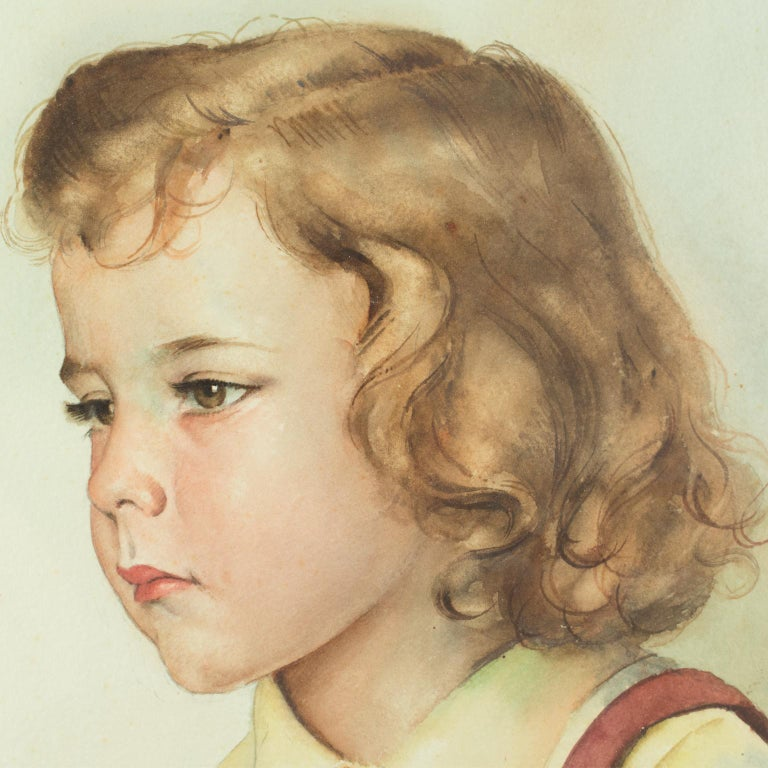 Portrait of Young Girl Gouache Painting by Max Moreau For Sale 9