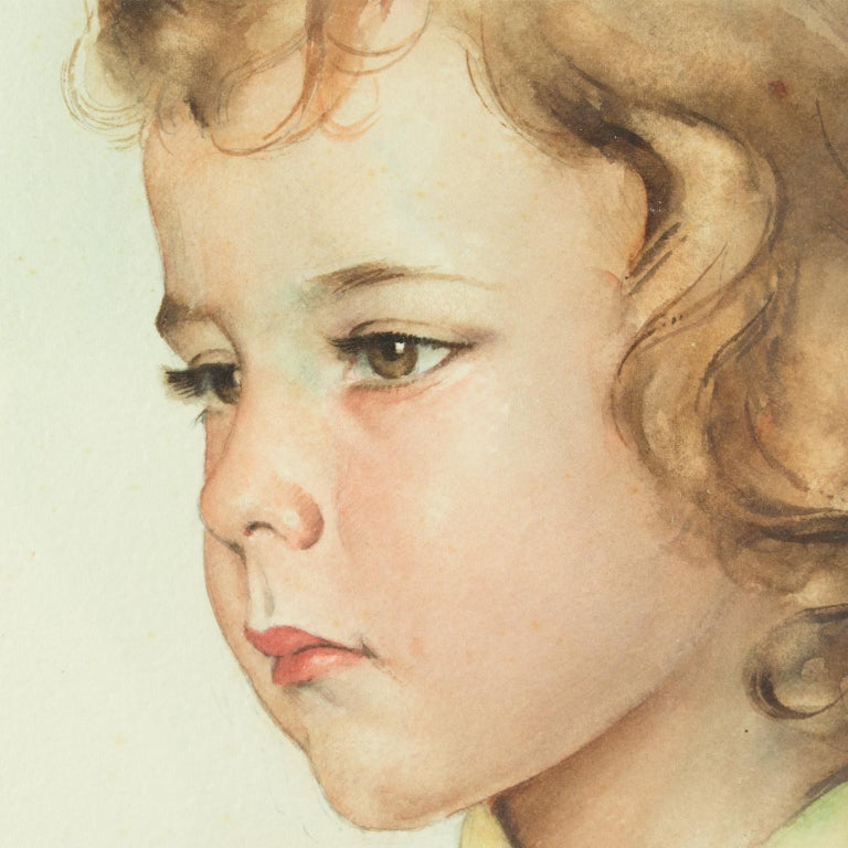 Portrait of Young Girl Gouache Painting by Max Moreau For Sale 10