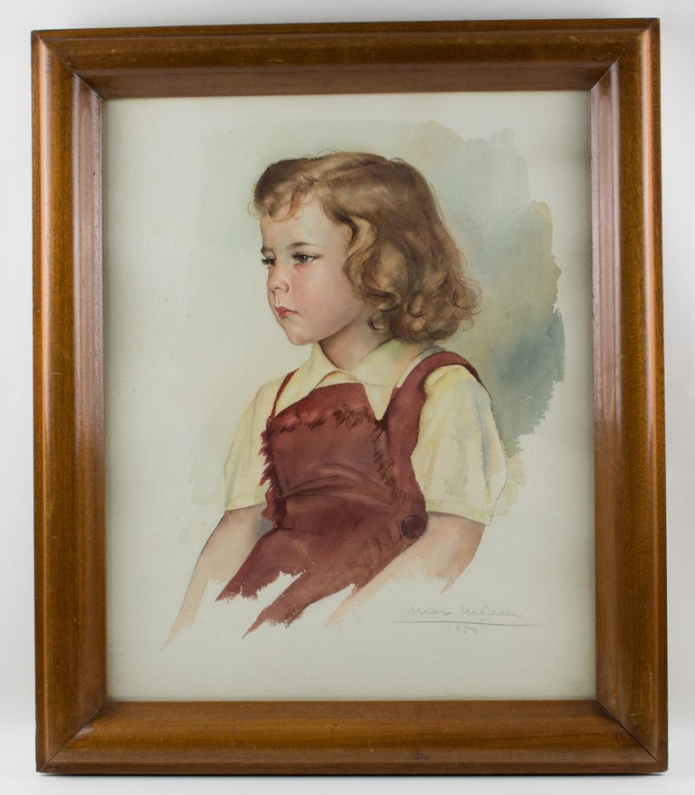 Portrait of Young Girl Gouache Painting by Max Moreau For Sale 11