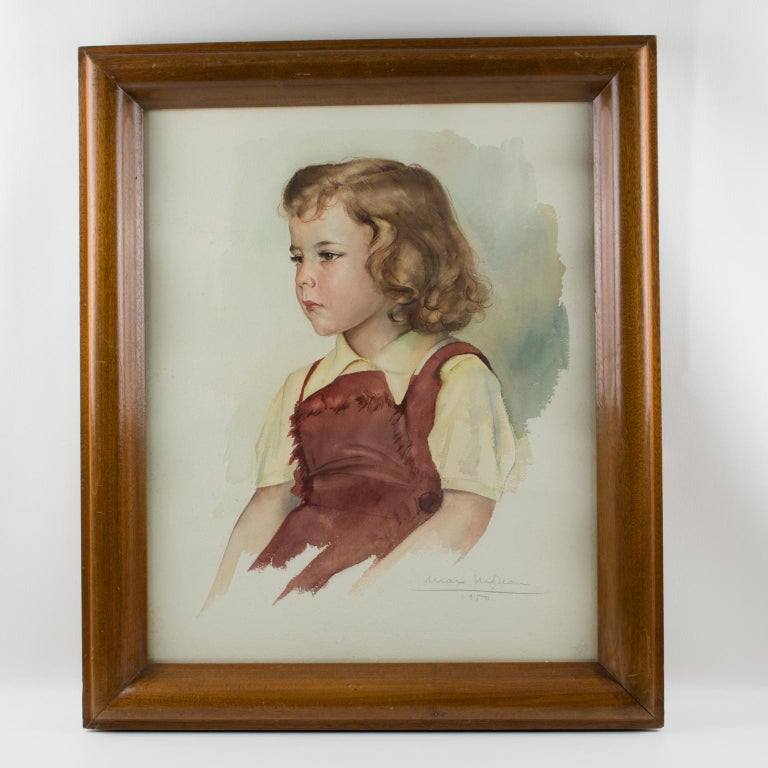 Portrait of Young Girl Gouache Painting by Max Moreau For Sale 4