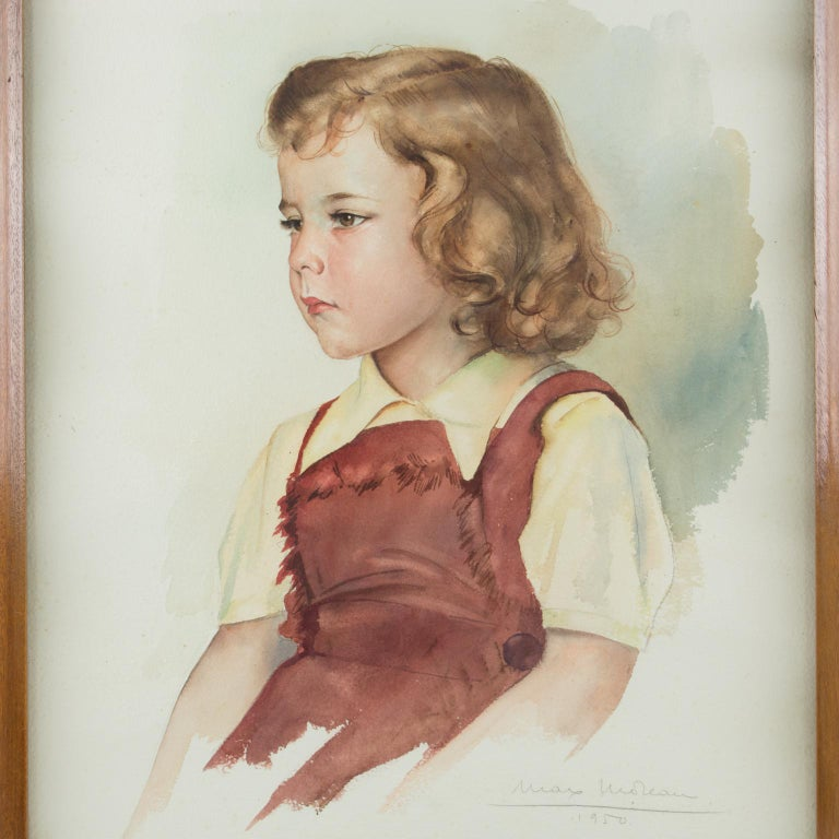 Portrait of Young Girl Gouache Painting by Max Moreau For Sale 6