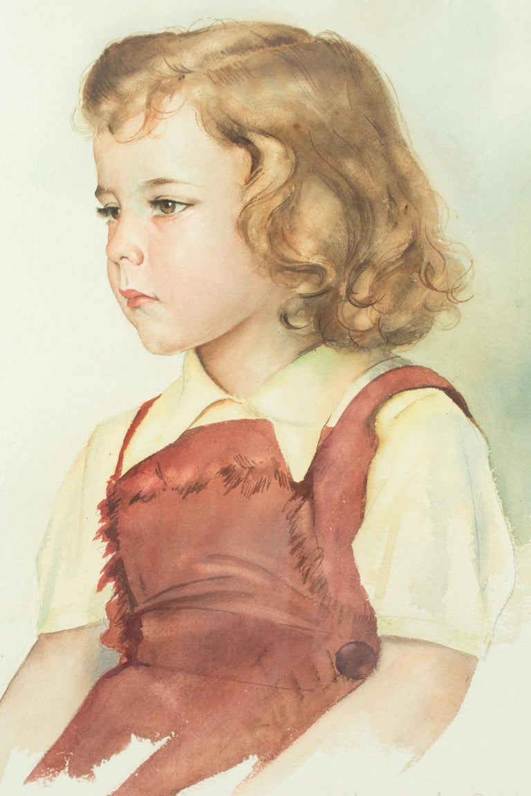 Portrait of Young Girl Gouache Painting by Max Moreau For Sale 7