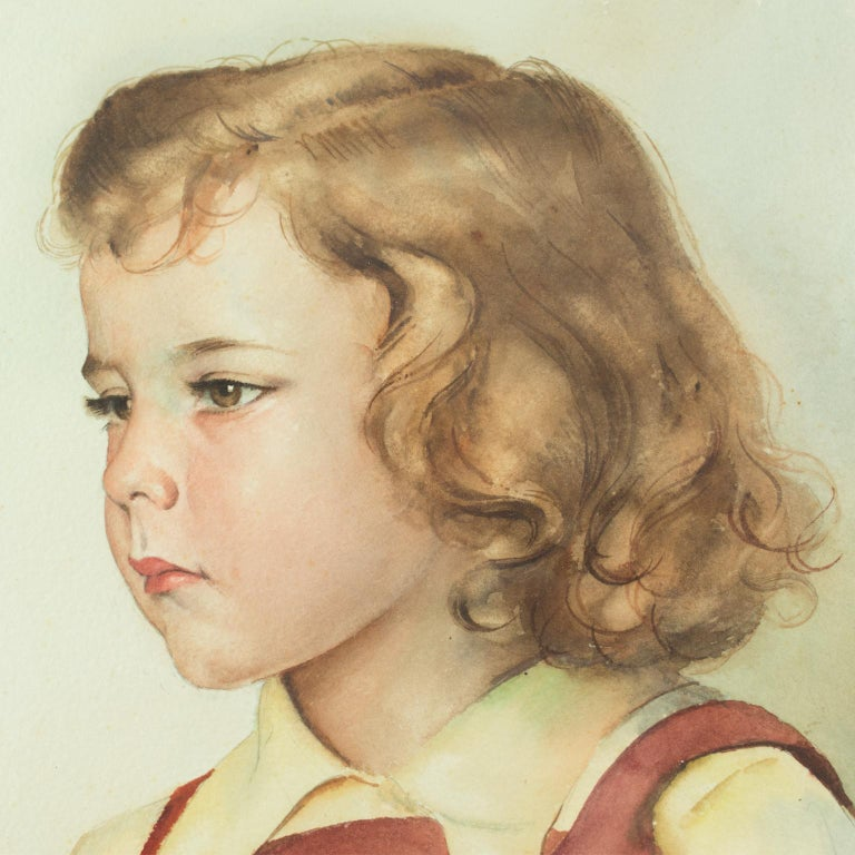 Portrait of Young Girl Gouache Painting by Max Moreau For Sale 8