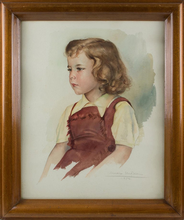 1950s portrait, gouache on paper painting by Belgian artist, Max Moreau (1902 - 1992). A fine portrait of a lovely young girl looking like a good child from the period right after WWII. Moreau captured the delicate traits of the little girl and her