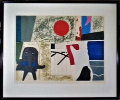 """""""Abstract Composition"""" large color carborundum etching"""