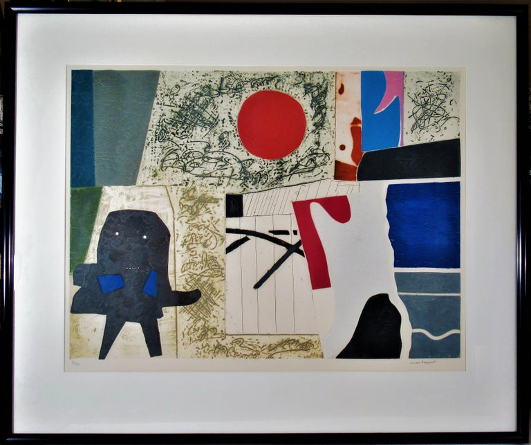 """Max Papart Abstract Print - """"Abstract Composition"""" large color carborundum etching"""