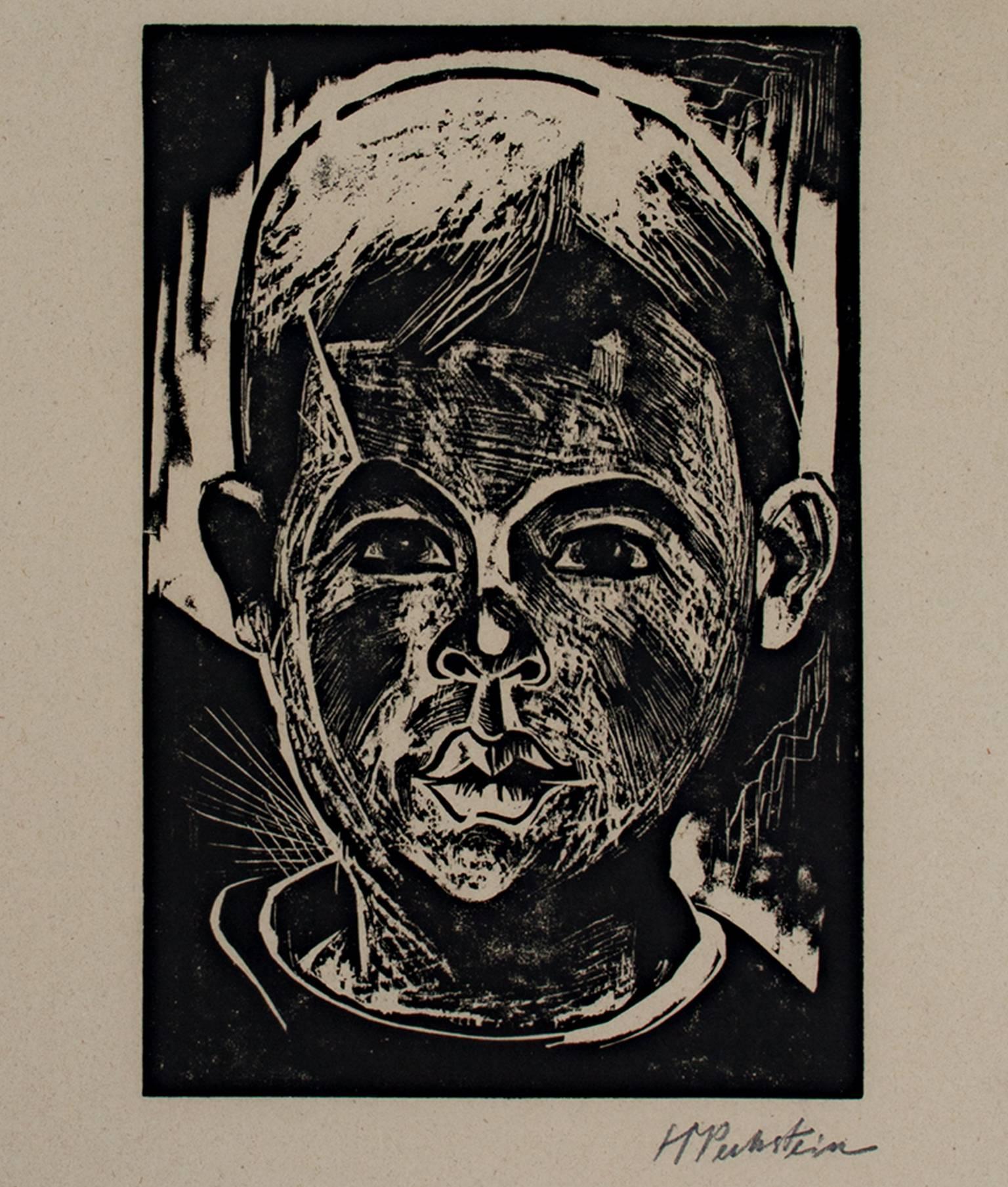 """""""Head of a Boy/Kopf des Jungen,"""" Original Woodcut signed by Max Pechstein"""