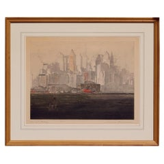 "Max Pollak Original Color Etching, circa 1927, ""New York Battery"""