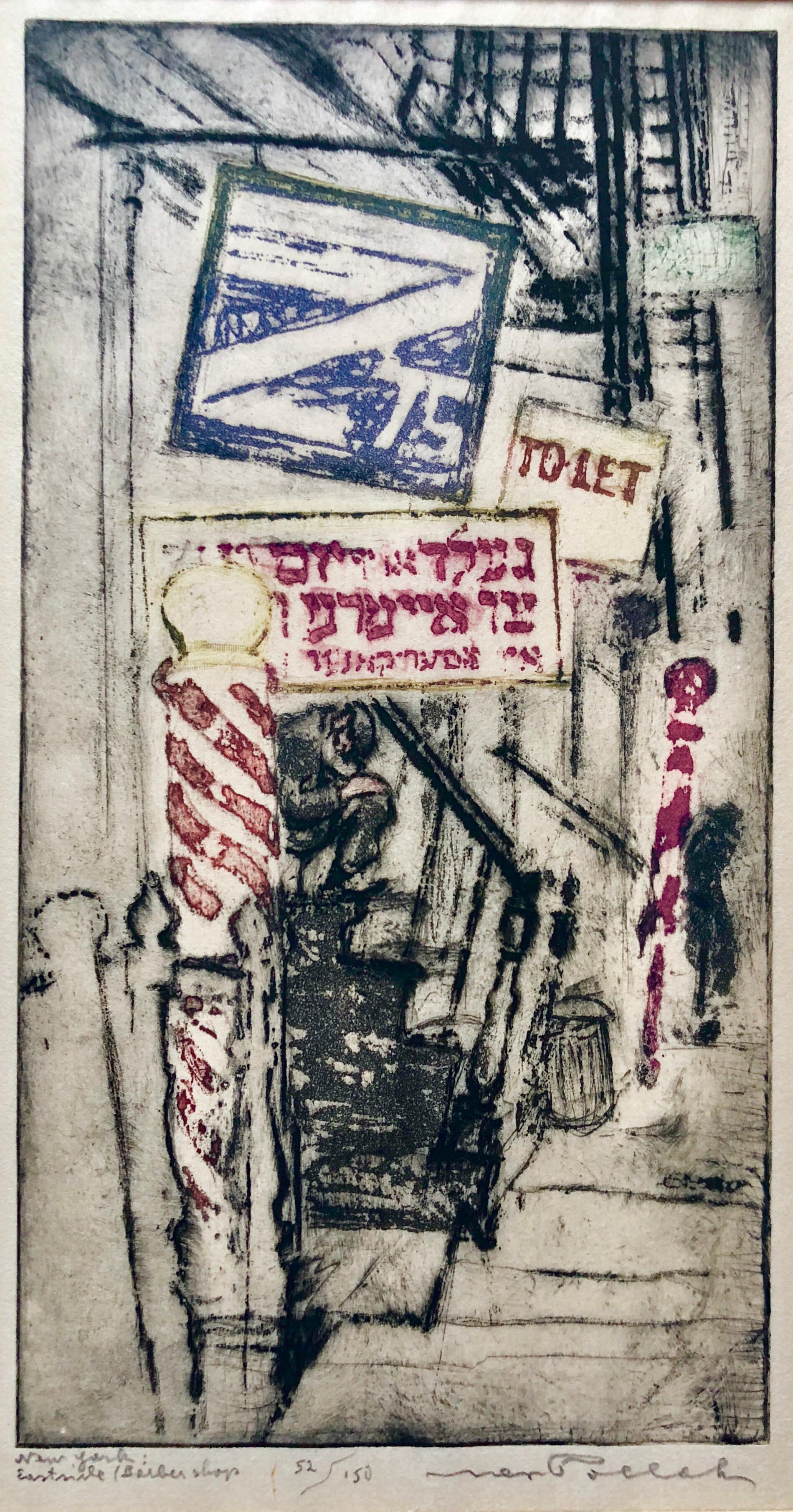 Lower East Side Tenements Yiddish Barber Shop 1920's Aquatint Etching Judaica