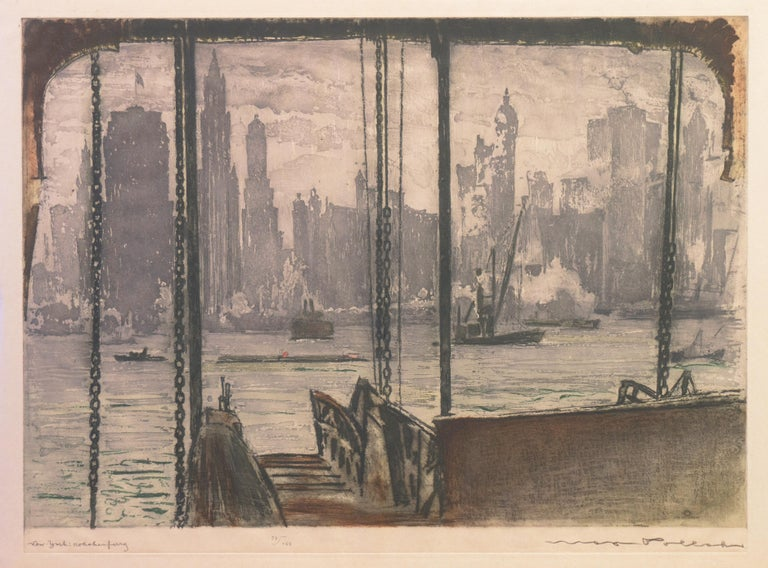 'New York, Harbor Ferry',  Vienna, Chicago and California Society of Etchers - Print by Max Pollak