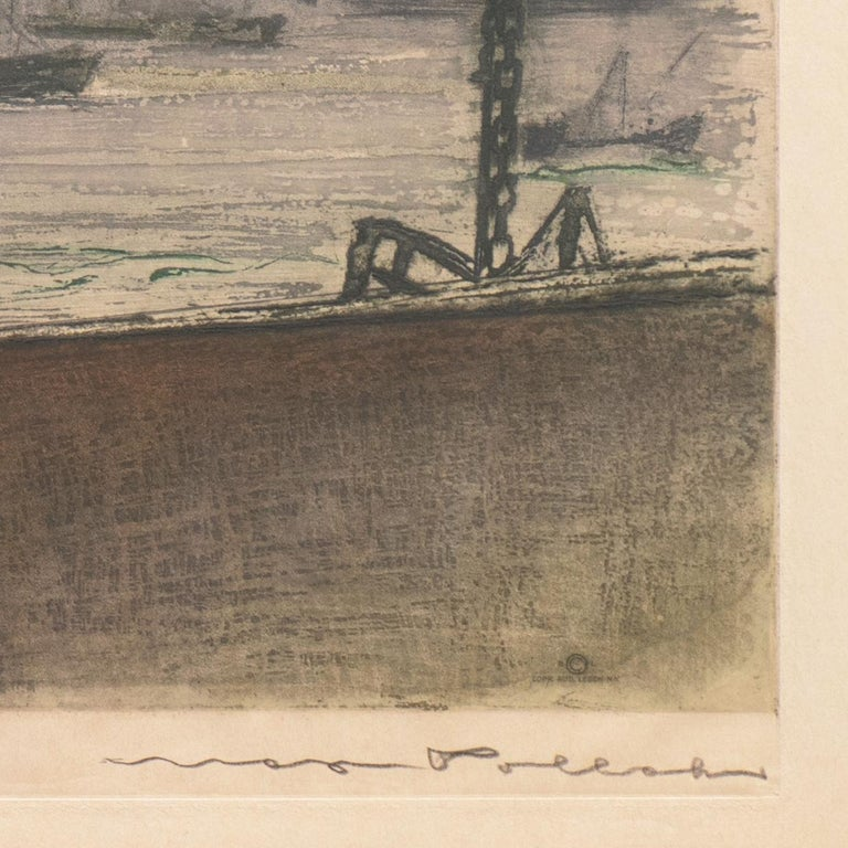 'New York, Harbor Ferry',  Vienna, Chicago and California Society of Etchers - Brown Landscape Print by Max Pollak
