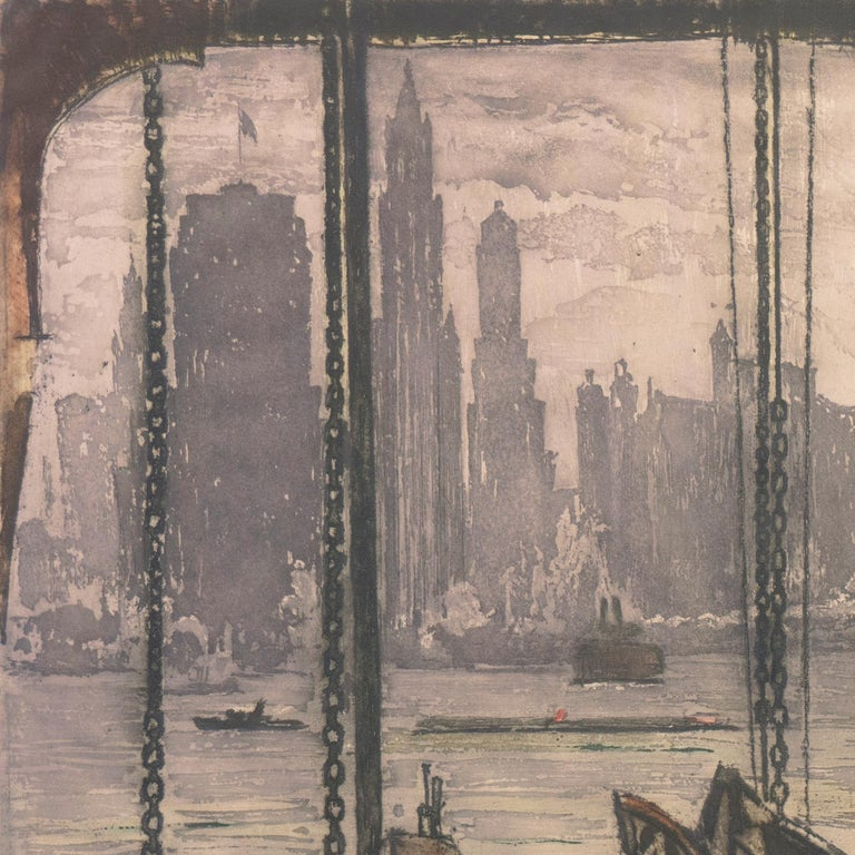 'New York, Harbor Ferry',  Vienna, Chicago and California Society of Etchers For Sale 3