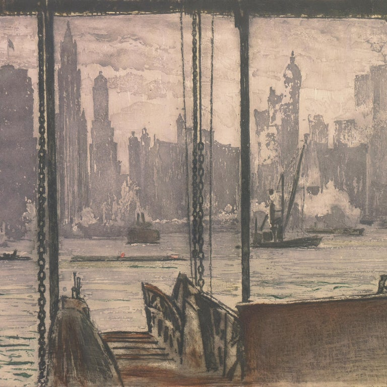 'New York, Harbor Ferry',  Vienna, Chicago and California Society of Etchers For Sale 4
