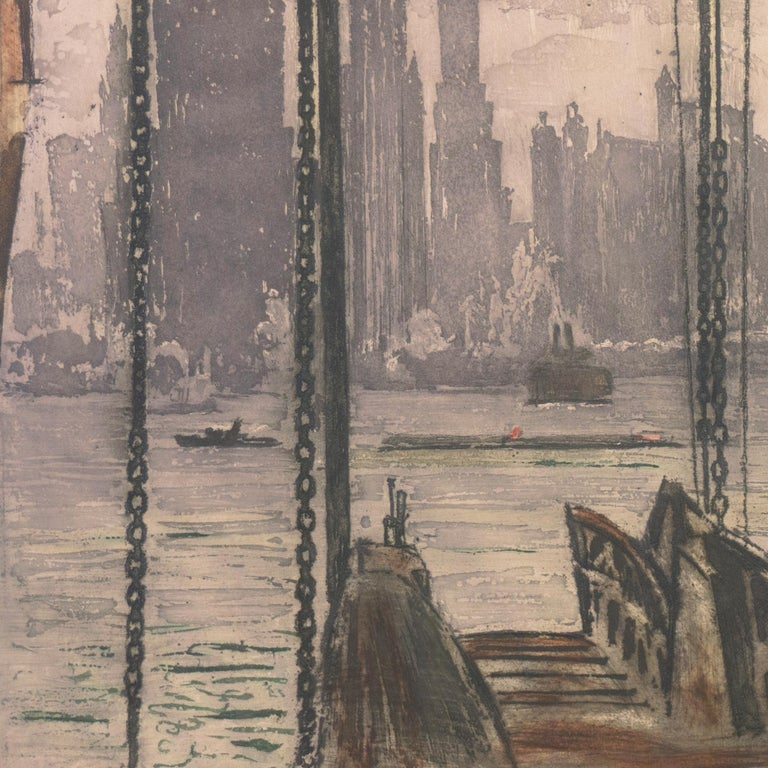 'New York, Harbor Ferry',  Vienna, Chicago and California Society of Etchers For Sale 5