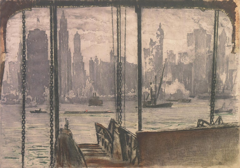 Max Pollak Landscape Print - 'New York, Harbor Ferry',  Vienna, Chicago and California Society of Etchers