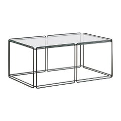 Max Sauze Architectural Metal and Glass Coffee Table