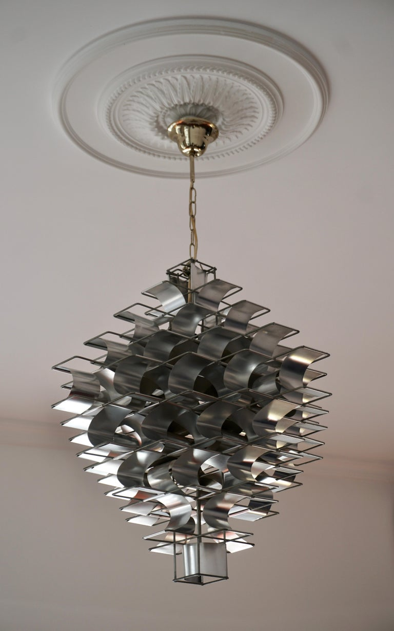 Mid-Century Modern Two Max Sauze Cassiopé Chandelier, 1970s For Sale