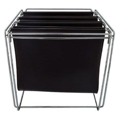 Max Sauze, French Designer, Magazine Holder in Chrome and Brown Leather, 1980s