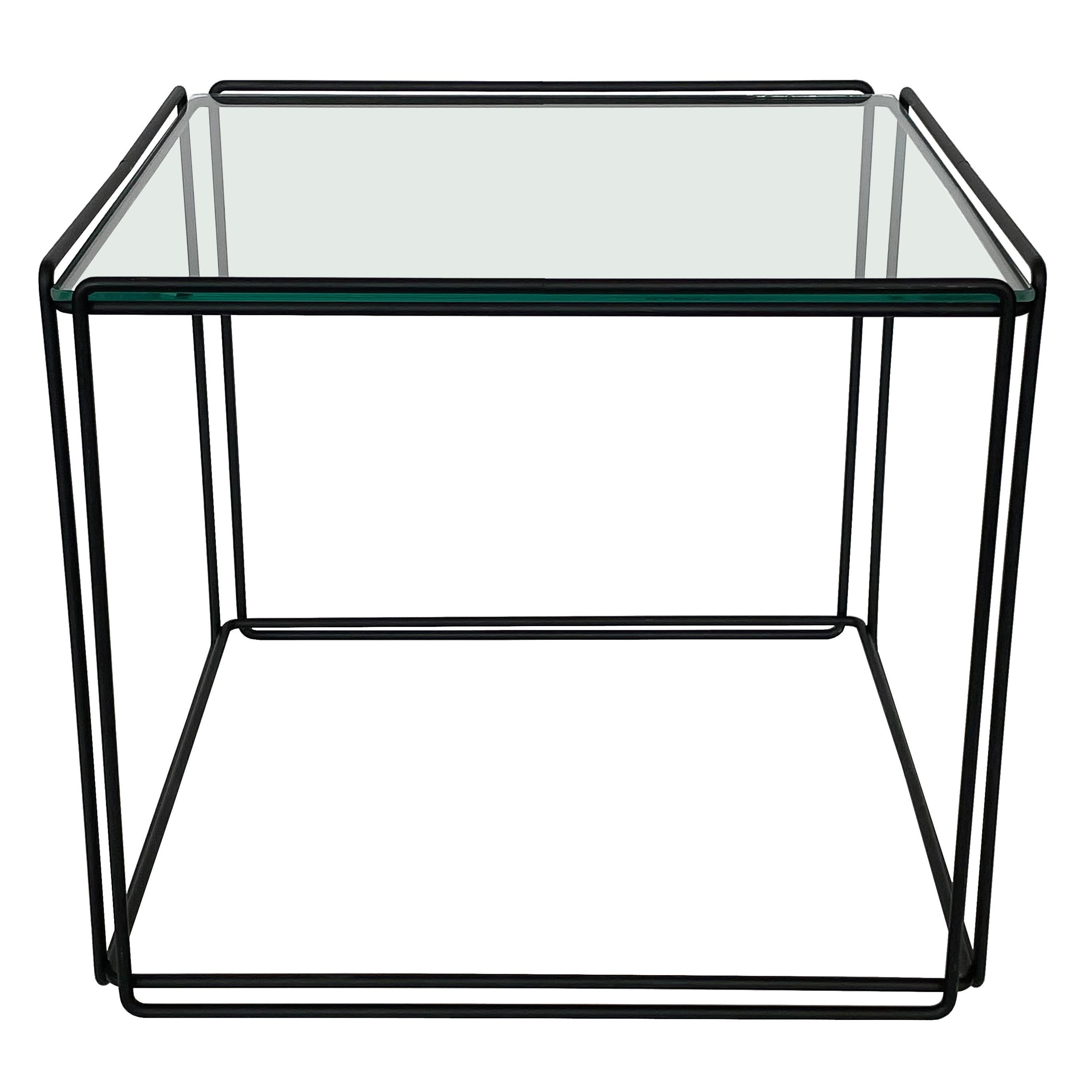 Max Sauze Isoceles Metal and Glass Cube Side Table