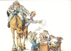 1985 Max Schweber 'High Horse' Contemporary Multicolor,Brown Lithograph