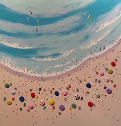 'Alone on the Reef' Contemporary Colourful 3D Beach Scene Painting, Surf, Sea