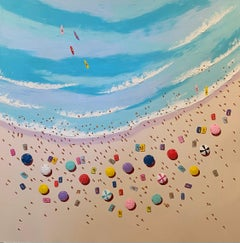 Colourful 3D Seascape painting 'By the Seaside', Umbrellas, Waves, Sand, Blue