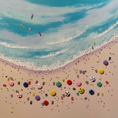 Contemporary 3D Colourful Beach Scene Painting 'Afternoon Surf' by Max Todd