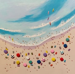 Contemporary 3D Colourful Beach Scene Painting 'Fun in the Sun' by Max Todd