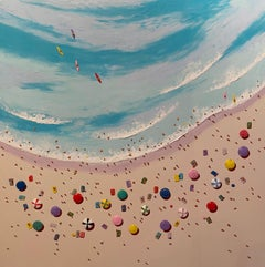 Contemporary 3D Colourful Beach Scene Painting 'Soaking up the Sunshine'