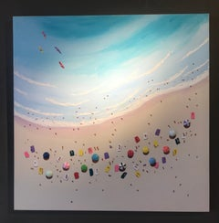 Contemporary 3D Seascape Painting 'Pina Colada'. Colourful Reds, pinks & blue