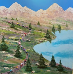 'Off the Beaten Track' Contemporary 3D Landscape Cycling Painting of Mountains