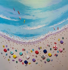 'Surfers Paradise' Contemporary colourful 3D Beach scene with water & figures