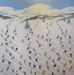 'The Last Lift' Contemporary 3D landscape painting of skiers, trees, mountain