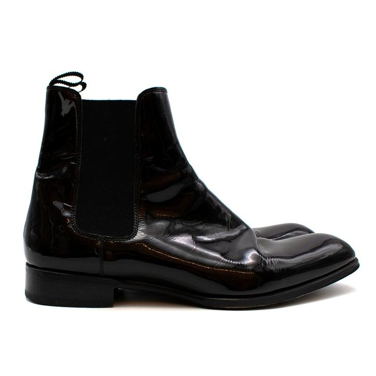Max Verre Black Patent Leather Boots  - Stylish Gloss Patent  - Round Toe  - Classic Heel  - Classic Chelsea Boot Style   Heel Height: 3cm  Sole Length: 31cm  Height: 18cm