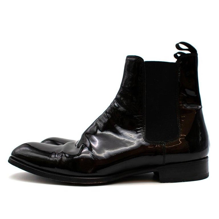 Women's or Men's Max Verre Black Patent Leather Boots - Size 9 For Sale