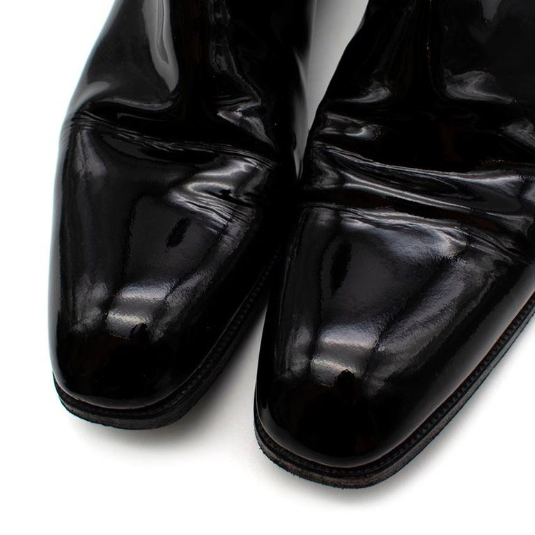 Max Verre Black Patent Leather Boots - Size 9 For Sale 1